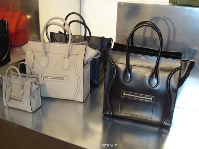 celine nano luggage tote black smooth leather handbag