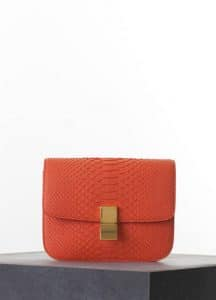Celine Bright Orange Python Classic Box Medium Bag