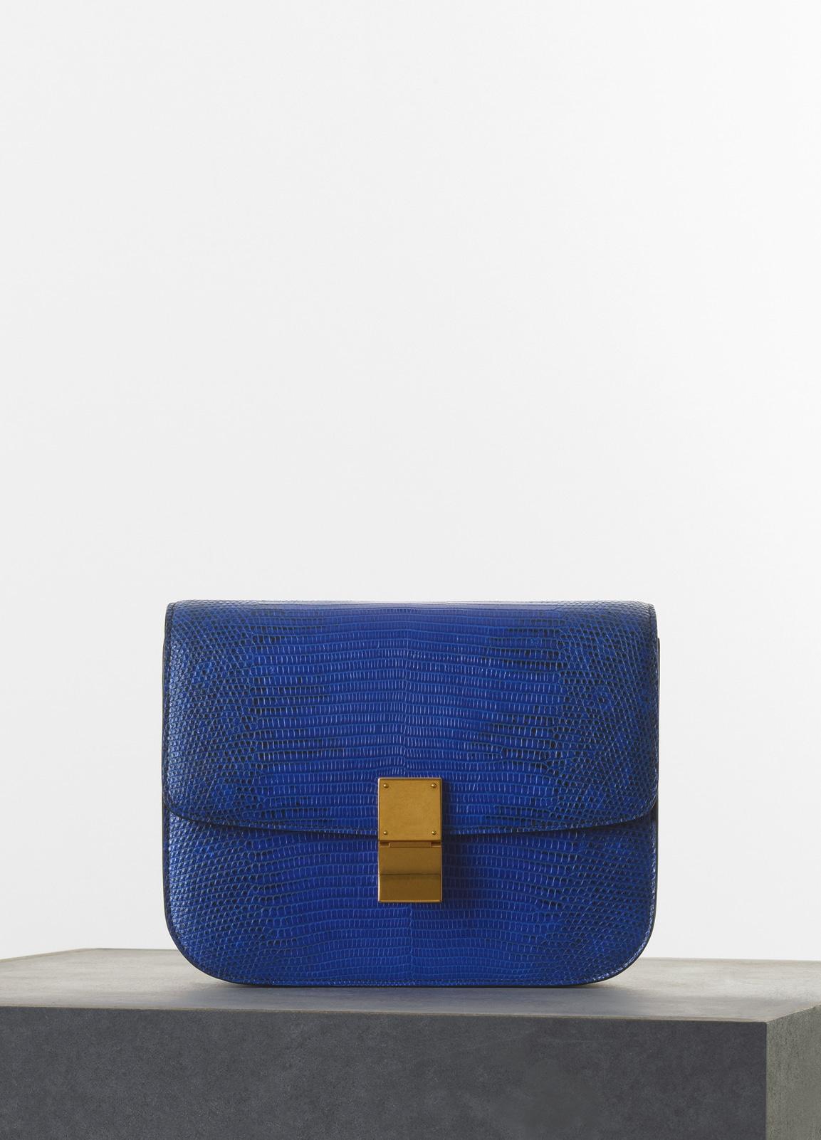 ead354554a Celine Indigo Lizard Classic Box Medium Bag
