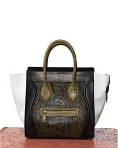 Celine Tricolor Python Green Mini Luggage Bag