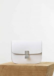 Celine White Spazzolato Calfskin Classic Box Medium Bag