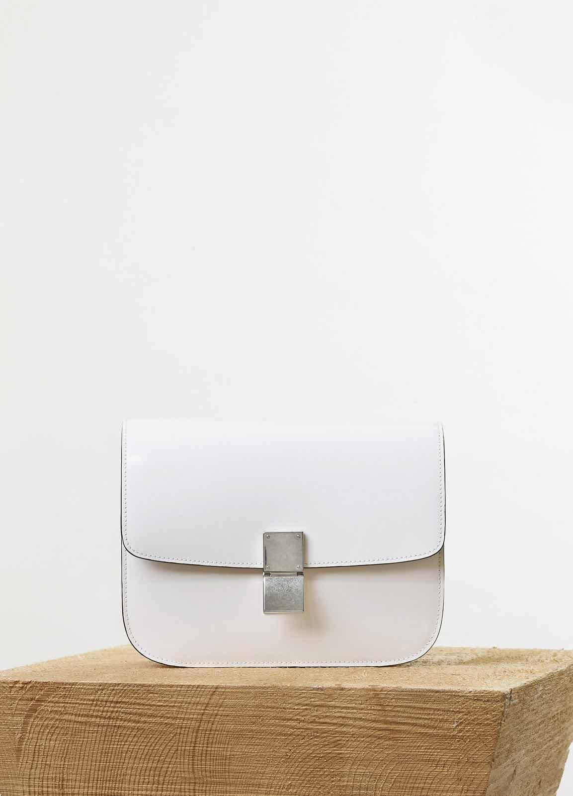 6f4e2845d Celine White Spazzolato Calfskin Classic Box Medium Bag