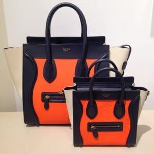 Celine Orange Tricolor Nano Luggage Bag