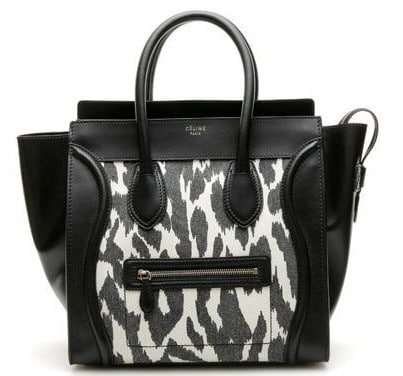 Celine Zebra Canvas Mini Luggage Bag