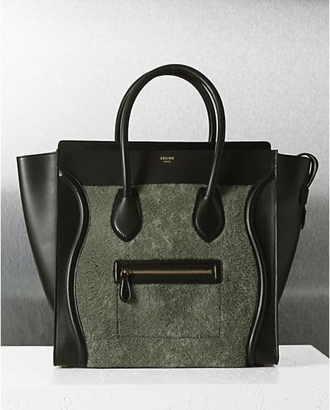 celine gray 7rv7  celine-grey-shearling-mini-luggage-bag