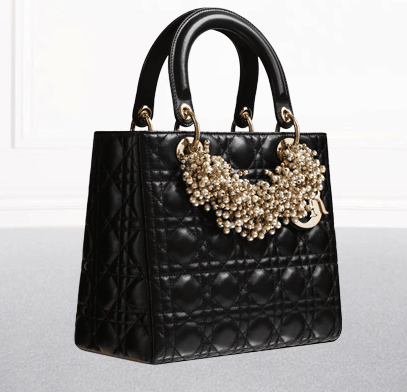 uploads. dior black lambskin with pearl necklace lady dior bag.