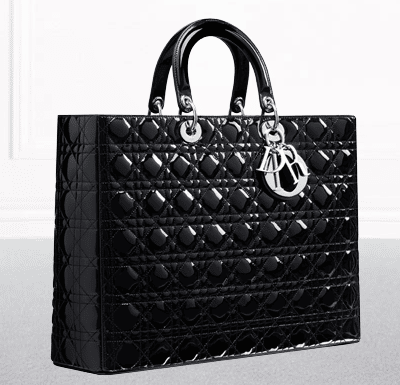 dior black patent leather lady dior large shopping bag.