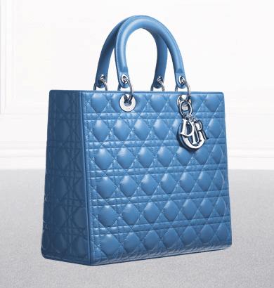 dior light cobalt leather lady dior large bag.