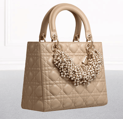 Dior Pale Baige Lambskin with Pearl Necklace Lady Dior Bag