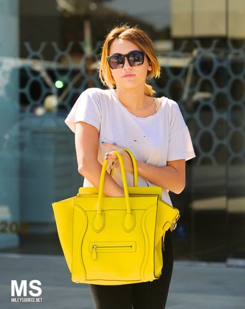 Miley Cyrus with Celine Yellow Citron Mini Luggage Bag | Spotted ...
