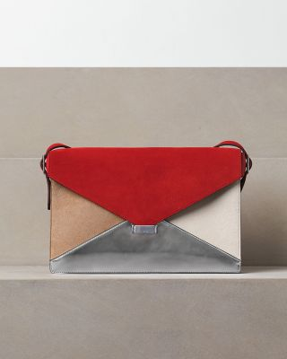 celine red suede leather diamond clutch bag