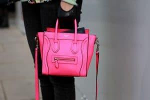 Celine Neon Pink Nano Luggage Bag Streetstyle 2