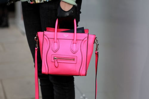 Celine Neon Pink Nano Luggage Bag Streetstyle 2 – Spotted Fashion