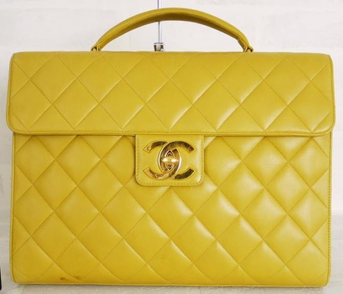 Vintage Chanel Bags Inside Chanel Yellow Lambskin Vintage