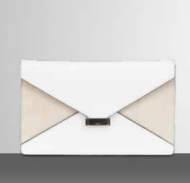 Celine White Suede Diamond Clutch Bag | Spotted Fashion