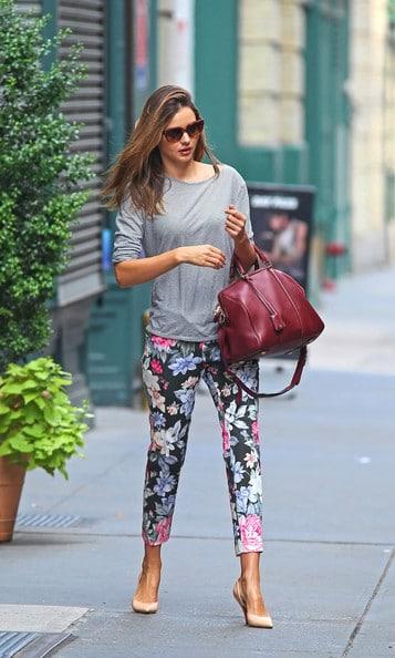 Miranda Kerr In Celine Floral Pants With Sofia Coppola Bag