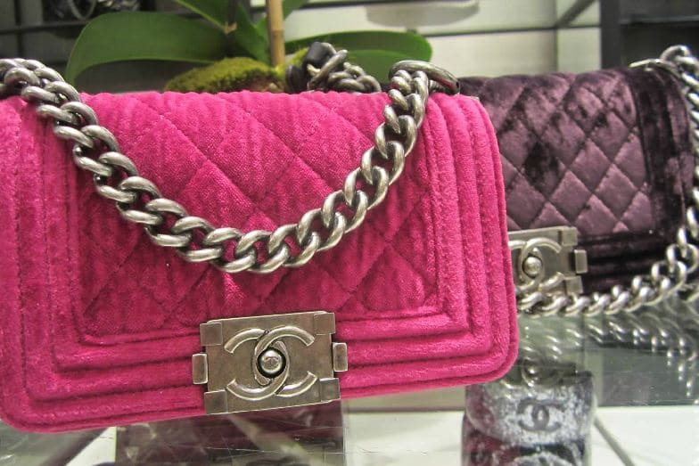 Chanel Purple Velvet Boy Bag Chanel-pink-velvet-boy-bag