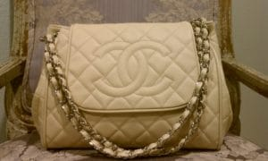 Chanel Beige Timeless Accordion Flap Large Bag 2011