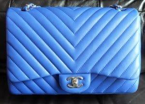 Chanel Blue Chevron Jumbo Flap Bag 2010