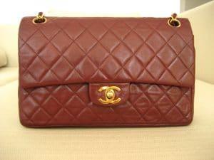 Chanel Bordeaux Vintage Classic Flap Bag 1989-1991