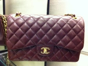 Chanel Burgundy Classic Flap Jumbo Bag 2012