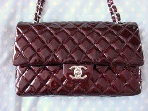 Chanel Burgundy Patent Classic Flap Medium Bag 2008