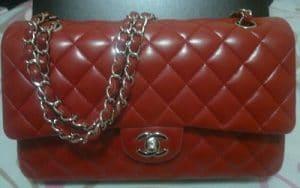 Chanel Chili Red Classic Flap Medium Bag 2010