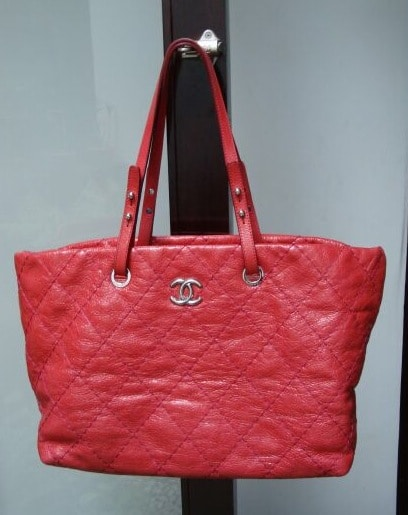 Large Shopping Tote Bag, Red