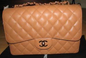 Chanel Dark Beige Classic Flap Jumbo Bag 2006
