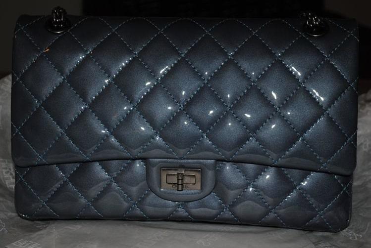 e8638708443241 Chanel Dark Blue Patent Reissue Flap 226 Bag 2011
