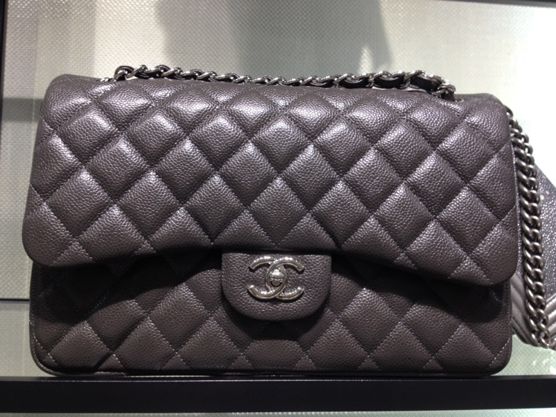 Chanel Dark Grey Classic Flap Jumbo Bag 2012 84bac21c314ad