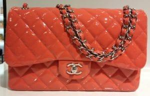 Chanel Dark Pink Patent Classic Flap Jumbo Bag 2012