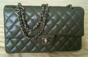 Chanel Grey Classic Flap Medium Bag 2010