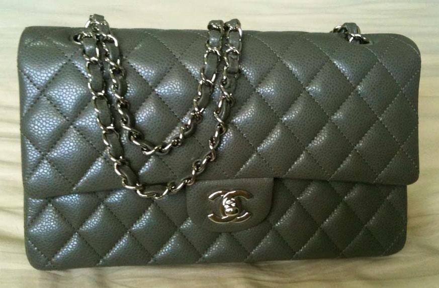 Chanel Grey Classic Flap Medium Bag 2010 a8c35d6cc92b7