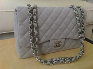 Chanel Grey Jersey Classic Flap Jumbo Bag 2009