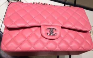 Chanel Hot Pink Classic Flap Jumbo Bag 2012