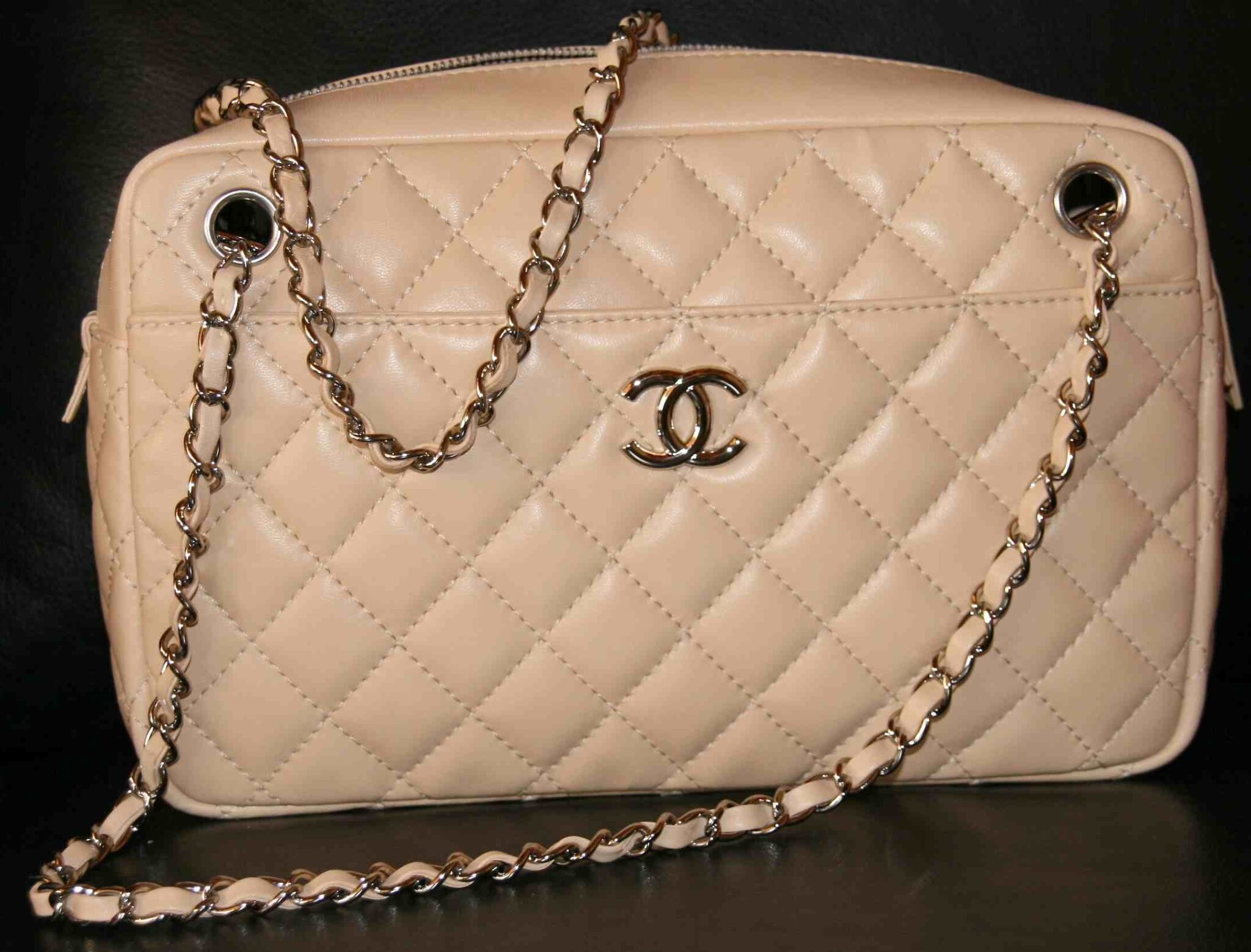 Chanel Light Beige Camera Case Medium Bag 2009