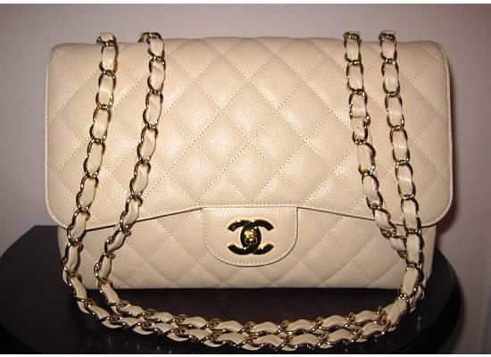 9fff1dc433f6 Chanel Light Beige Classic Flap Jumbo Bag 2009