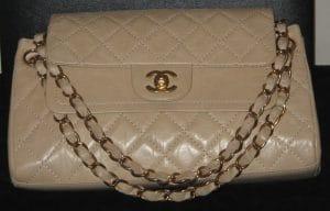 Chanel Light Beige Vintage Ligne Flap Bag 2006