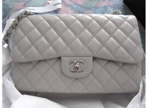 Chanel Light Grey Classic Flap Medium Bag 2011