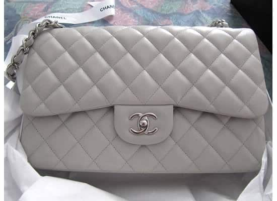 Chanel Light Grey Classic Flap Medium Bag 2011 cd490a8263e5d