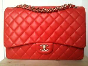 Chanel Orange Red Classic Flap Maxi Bag 2010