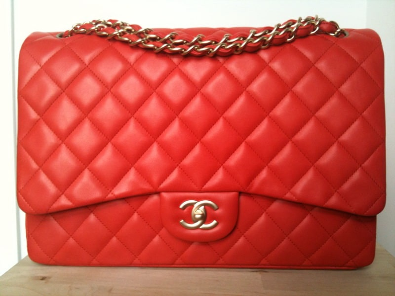 Chanel Orange Red Classic Flap Maxi Bag 2010
