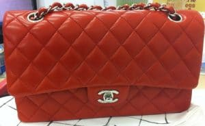 Chanel Orange Red Classic Flap Medium Bag 2011