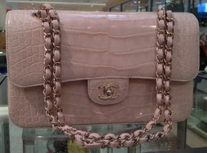 Chanel Pale Pink Alligator Classic Flap Medium Bag 2012
