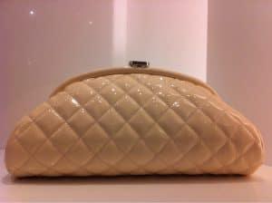 Chanel Pale Pink Patent Kiss Lock Clutch Bag 2012