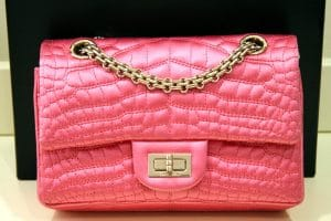 Chanel Pink Satin Crocodile Reissue Bag 2010