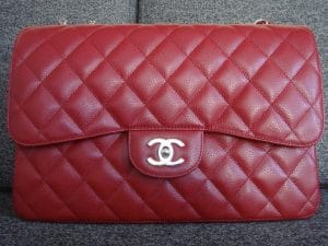 Chanel Red Classic Flap Jumbo Bag 2009