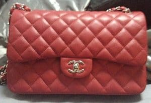 Chanel Red Classic Flap Jumbo Bag 2011