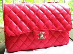 Chanel Red Classic Flap Jumbo Bag 2012